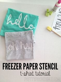 """freezer paper stencil shirt DIY with """"hello"""" or """"oh hey"""" templates free to download & use to make your own. such a fun and easy project! www.prettyprovidence.com"""