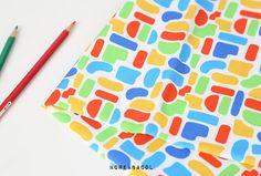 Color block fabric Color block pattern 44x35 100% by KoreaBacol
