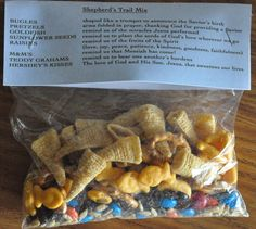 A simple snack to make that your Children's Ministry will love! Shepherd's Trail Mix. Each ingredient represents part of the Shepherds' journey to baby Jesus.