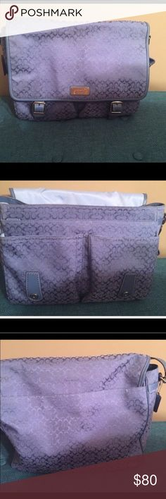 Coach Messenger Diaper Bag Messenger bag with lots of pockets and storage space. Periwinkle color. Coach Bags