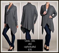 New cowl neck charcoal top! $38