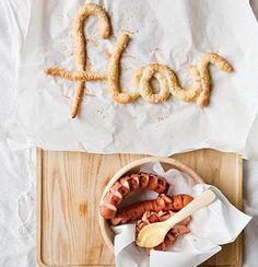 Pretzel letters with bratwurst and mustard Bratwurst, Food Font, Food Styling, Tiramisu, Tray Bakes, Pretzel, Mustard, Letters, Eat