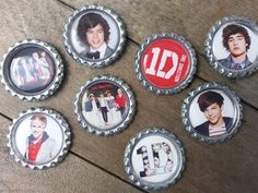 One Direction Bottle Cap Magnets Great For School by tracikennedy, $9.00