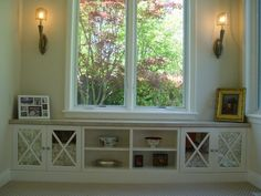 Window Bench with Storage | Window bench with built-in decorative storage shelves