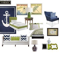 Nautical - love the chesterfield with navy and green accents