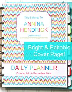 EDITABLE 20132014 Printable Daily Planner by EverydayEnchanting