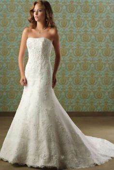 Sensational Trumpet/Mermaid Strapless Floor-length Chapel Appliques Wedding Dresses (3AD0097) - Trumpet/Mermaid Wedding Dresses - Wedding Dresses