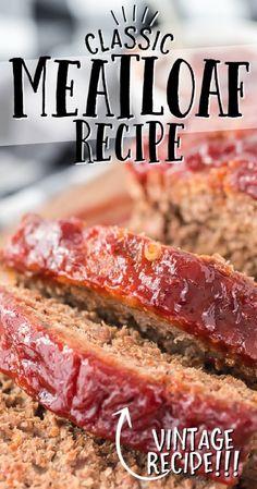 Beef Meatloaf Recipes, Homemade Meatloaf, Classic Meatloaf Recipe, Good Meatloaf Recipe, Best Meatloaf, Meat Recipes, Cooking Recipes, Meatloaf Sauce, Classic Recipe
