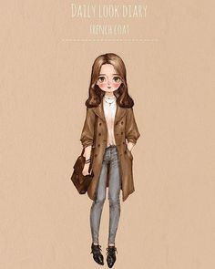 Daily look diary - Trench Coat by 애뽈 on Grafolio Girl Cartoon, Cute Cartoon, Art Qoutes, Fashion Art, Kids Fashion, Watercolor Girl, Forest Girl, Creative Pictures, Illustration Girl
