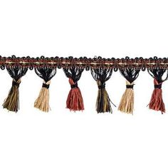 Red, Black & Tan Tassel Fringe Trim