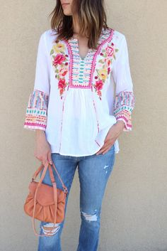 Johnny Was Tilly Flare Sleeve Boho Blouse | The Rollin' J | boho western style outfits | white top | spring and summer fashion | therollinj.com
