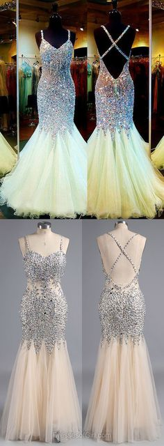 Exclusive V-neck Backless Formal Prom Dress, Tulle Crystal Evening Party Gowns, Detailing Trumpet/Mermaid Prom Dresses