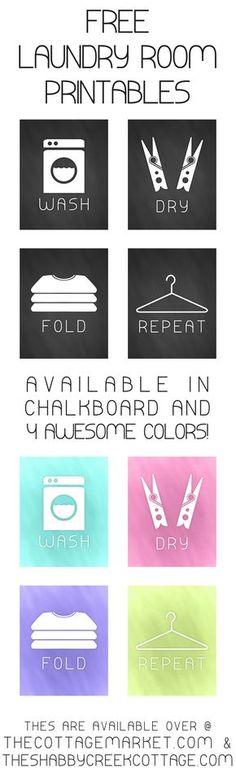 Carteles para el cuarto de lavado, para imprimir gratis - Free Printable Laundry Room Chalkboard Art. The Cottage Market