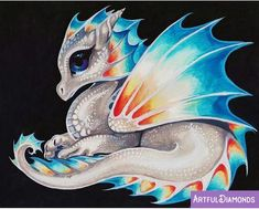 Diamond art is beautiful and we've got the best diamond painting kits around! Check out our what is diamond painting guide for diamond painting tips Pet Anime, Cute Dragon Drawing, Baby Dragon Drawings, Dragon Artwork, Dragon Pictures, Dragon Pics, Cute Dragons, Mythical Creatures, Animal Drawings