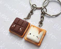 Ensemble de porte-clé se mores BFF, meilleur ami trousseau, bff collier, collier se more, kawaii porte-clés, porte-clé de l'amitié, nourriture porte-clé