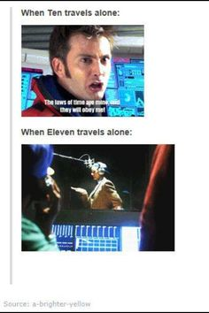 """""""The Doctor should never travel alone. Though I feel this difference was because Ten was truly alone. Eleven still had his Ponds; he was just giving them alone time.- This picture is life. Doctor Who, 10th Doctor, Don't Blink, Challenge, Torchwood, David Tennant, Travel Alone, Dr Who, Superwholock"""