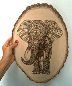 Elephant - pyrography, wood burning