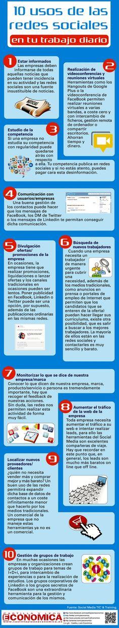 10 usos de las redes sociales en tu trabajo diario #infografia #infographic #socialmedia | Bibliotecas Escolares Argentinas