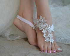 Flexible wrist lace sandals White Black or ivory Gold Champagne lace barefoot sandals Beach wedding barefoot sandals Barefoot Sandals Wedding, Beach Wedding Shoes, Barefoot Beach, Beach Shoes, Beach Sandals, Beach Weddings, Lace Wedding, Dream Wedding, Bare Foot Sandals