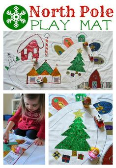DIY North Pole Play Mat.  Let the kids decorate it for extra fun!