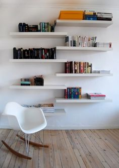 Floating bookshelves ikea wood floating shelves awesome wooden wall for home decoration ideas on shelving natural Ikea Bookshelves, Floating Bookshelves, Floating Shelves Bedroom, Ikea Wall Shelves, Wall Bookshelves, Shelves, Interior, Ikea Lack Shelves, Home Decor