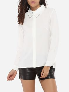 Single Breasted Button Down Collar Dacron Plain Blouse Only $24.95 USD More info...