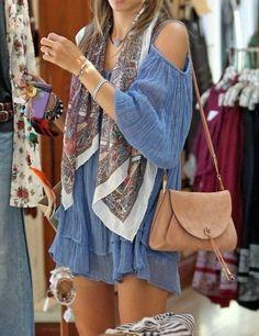 off the shoulder dress + scarf