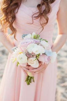 Pink Bridesmaids Dress on Beach