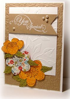 Patterned Paper Flowers by tesa4Him (Theresa), via Flickr - kraft embossed mat, white embossed mat with craft banner (not sure about the flowers