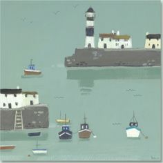 Harbour and Boats by Sabrina Roscino. Lighthouse Art, Urban Sketchers, Art For Art Sake, British Isles, Art Market, New Art, Seaside, Art Gallery, Illustration Art
