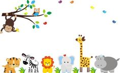 Baby Nursery Wall Decals Safari Jungle Childrens Themed 83″ X 156″ (Inches) Animals Trees Monkey Zebra Owls Lion Tiger Elephant Giraffe Hippo Wildlife Made of Seramark Material Repositional Removable Reusable