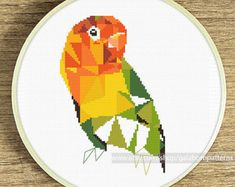 Modern geometric cross stitch pattern Hummingbird Counted