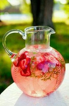 Strawberry water: an easy way to get your 8 glasses a day! Recipe: •1 pint strawberries, hulled and sliced, •Water, •Ice - you can add fresh herbs if you like: pineapple sage, mint, etc. Add all to a pitcher and enjoy.