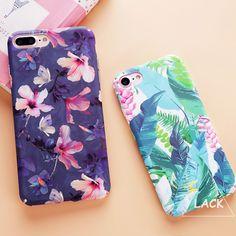 Moda colorida flor plantas de hojas para iphone 7 caso lindo Gato de la historieta de la Hoja Contraportada Casos De Teléfono de iphone7 6 6 S PLus