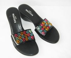 SESTO MEUCCI Womens Wedge Sandals Shoes Size 9 Black Beaded Italy