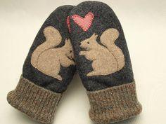 Wool Mittens Squirrel Appliqued Mittens Dark Grey by ForMyDarling, $38.00