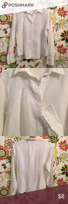 EUC Cotton Linen feminine fit white blouse 💕 Clean smoke free home . Tag marked 4, fits like a women's small. No flaws, all buttons ! This shirt is WHITE, pics look a little yellow- it's not. Has embroidered white starburst/flowers through out top. Nice quality and sleeves have 2 buttons designed to roll a cuff . So pretty !! Liz Claiborne Tops Blouses