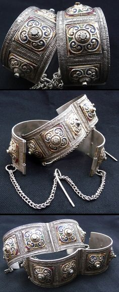 Morocco | Pair of Berber bracelets ~ khenifra | Early 20th century | Silver with enamel | 1,299$