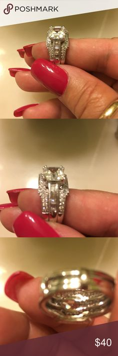 Sterling silver absolutely beautiful Two-piece cubic zirconia ring this is one beautiful two-piece ring Jewelry Rings