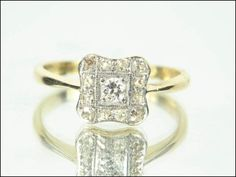 Art Deco Period Diamond Cluster Ring Petite by Ringtique on Etsy, $445.00