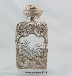 VICTORIAN LARGE SILVER AND CUT GLASS PERFUME / COLOGNE ...