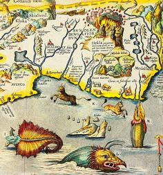 Map of Sea monsters from Iceland 1594 @ Classic Ocean Adventures Old Maps, Antique Maps, Vintage World Maps, Map Globe, Fantasy Map, Treasure Maps, Cryptozoology, Sea Monsters, Historical Maps