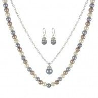 Lustrous pearls in cool tones freshen any look with the Light Grey, Champagne and Cream Simulated Pearl earring, Pendant and Necklace Set. Including a patterned 18-inch strand, a timeless solitaire pe...