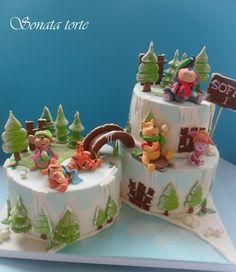 Winnie the pooh friends snow cakes - Cake by Sonata Torte Winnie The Pooh Honey, Winnie The Pooh Cake, Winnie The Pooh Birthday, Snow Cake, Winter Wonderland Cake, Foundant, Fantasy Cake, Friends Cake, Gingerbread Cake