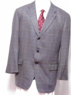 Joseph Abboud  Fully Lined Gray Wool 3 Button Sport Coat  Size 43R  #JosephAbboud #TwoButton