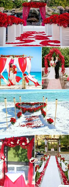 red and white wedding ceremony decoration ideas