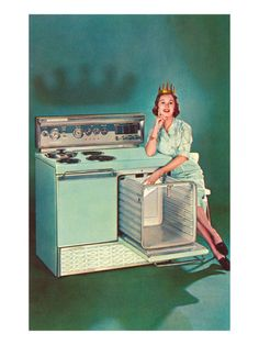 Lady with Tiara and Electric Stove, Retro Premium Poster Vintage Advertisements, Vintage Ads, Vintage Items, Failed Products, Kitsch, Vintage Housewife, Housewife Humor, Vintage Stoves, Retro Stoves
