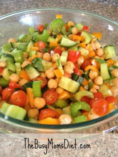 Chick Pea and Veggie Salad with a Garlic Cilantro Lime Dressing #Recipe #Diet #Healthy