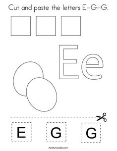 Cut and paste the letters E-G-G Coloring Page - Twisty Noodle Letter E Activities, Letter E Worksheets, Bible Activities For Kids, Bible For Kids, Language Activities, Before Kindergarten, Kindergarten Math Worksheets, School Worksheets, Teaching Kindergarten