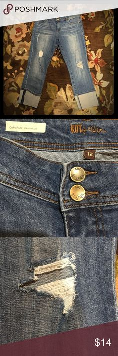 """Kut Cropped Jeans with Cuffs from Nordstrom Washed not worn - on point Kut jeans in size 12.  Thick cliffs are stitched down so they always lay right.  Nice stretchy denim - but not too stretchy - more classic. Fraying and holes in just the right places.  Will fade and soften even more with wear.  Fit it mid rise - """"Cameron"""" cut. Kut from the Kloth Jeans Boyfriend"""